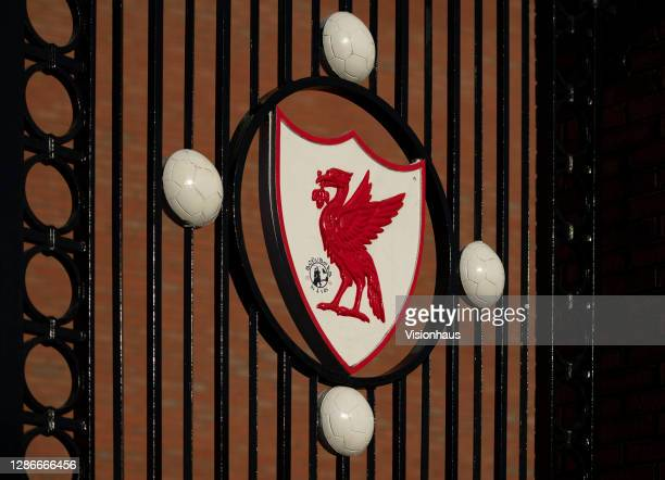 The Liver Bird on the Bob Paisley gates outside the Kop at the Anfield Stadium on November 19th, 2020 in Liverpool United Kingdom.