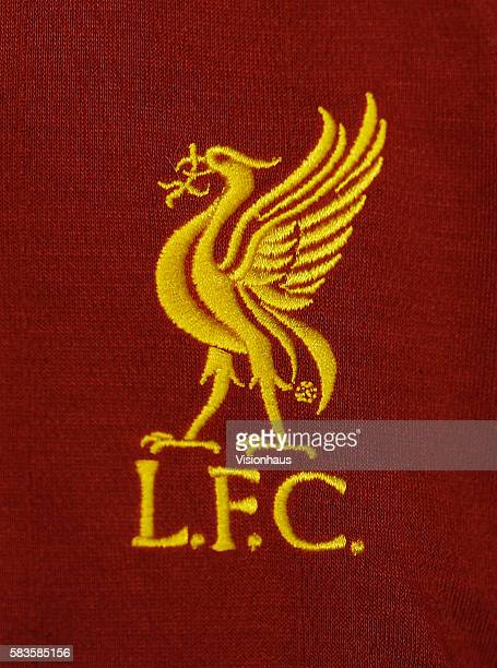 The Liverpool badge on a shirt before the UEFA Europa League Round of 16 2nd leg match between Liverpool and FC Zenit St Petersburg at Anfield in...