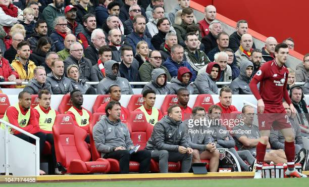 The Liverpool bench includes Trent AlexanderArnold for the first time this season during the Premier League match between Liverpool FC and Manchester...