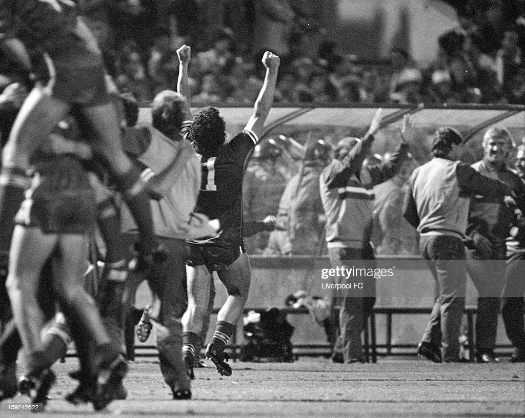 The Liverpool bench that includes coaches Roy Evans, Chris Lawler, Tom Saunders, manager Joe Fagan as well as captain Graeme Souness (11) all going wild with joy as they celebrate Alan Kennedy scoring the last penalty and winning the cup during the UEFA European Cup Final between AS Roma and Liverpool FC held on May 30, 1984 at the Stadio Olimpico in Rome, Italy. The match ended in a 1-1 after extra-time, with Liverpool winning the match and trophy 4-2 on Penalties.