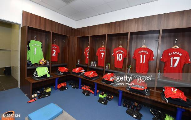 The Liverpool changing room before the Premier League match between Leicester City and Liverpool at The King Power Stadium on February 27 2017 in...