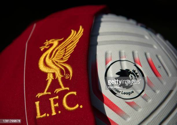 The Liverpool club badge with the official Nike Premier League match ball on October 20 2020 in Manchester United Kingdom