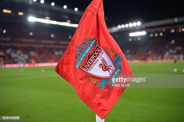 The Liverpool crest sits on a corner flag pole ahead of the EFL Cup quarterfinal football match between Liverpool and Leeds United at Anfield in...
