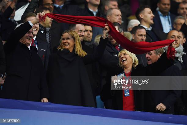 The Liverpool Directors show there support for there team Ian Rush ,Sue Black,Marina Daglish And Kenny Daglish with there red scarfe during the UEFA...