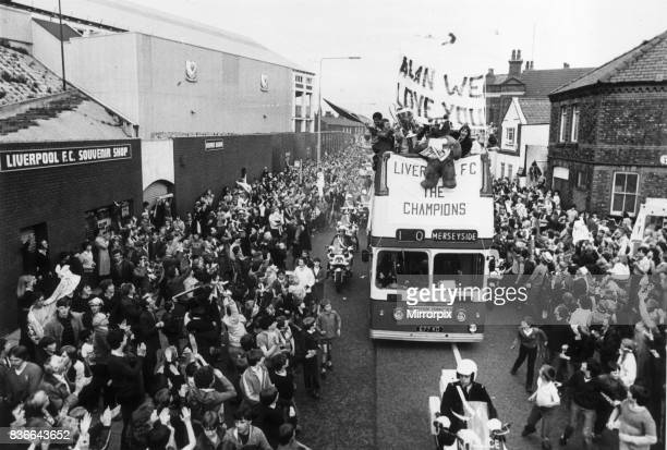 The Liverpool FC Tour Bus passes Anfield Football Club in Walton Liverpool as the players enjoy a parade in their honour after winning the 1981...