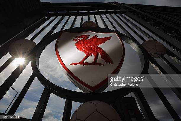 The Liverpool Football Club emblem is displayed on the gates of Anfield Stadium on September 17, 2012 in Liverpool, England. In the wake of the...