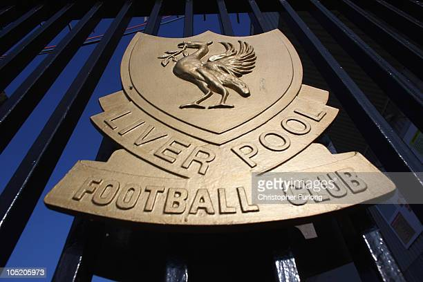 The Liverpool Football Club emblem the Liver Bird adorns the gates of Anfield on October 12 2010 in Liverpool England The Royal Bank of Scotland...