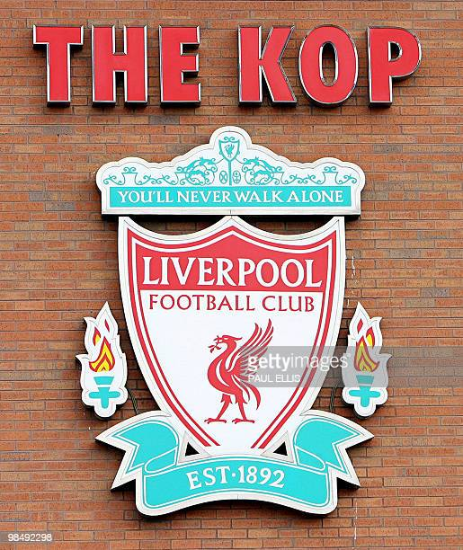 The Liverpool football logo is pictured at the Club's stadium at Anfield in Liverpool 29 March 2006 English Premiership giants Liverpool on Tuesday...