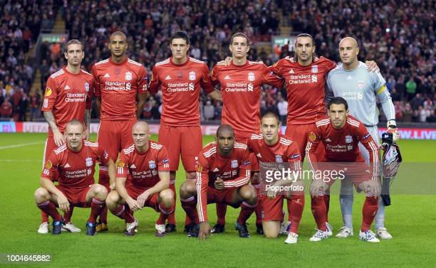 The Liverpool football team prior to the UEFA Europa League Group K match beteween Liverpool and Steaua Bucharest at Anfield in Liverpool on...