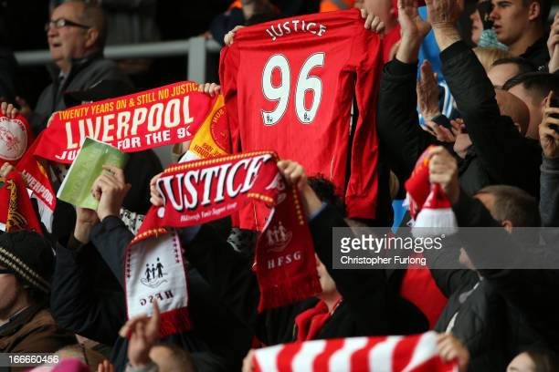 The Liverpool Kop End sing 'You'll Never Walk Alone' during the Hillsborough memorial service on the 24th anniversary of the Hillsborough Disaster at...