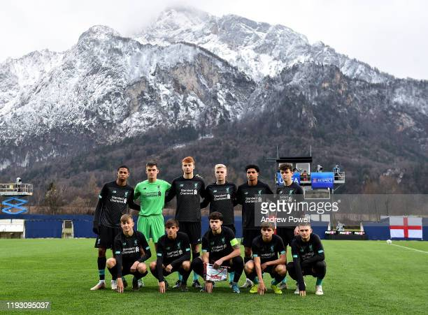 The Liverpool Lineup before the UEFA Youth League match between RB Salzburg U19 and Liverpool U19 on December 10 2019 in Groedig near Salzburg Austria
