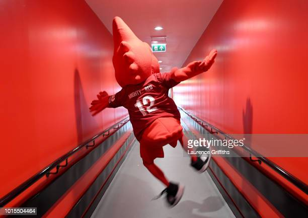 The Liverpool mascot Mighty Red walks down the tunnel prior to the Premier League match between Liverpool FC and West Ham United at Anfield on August...