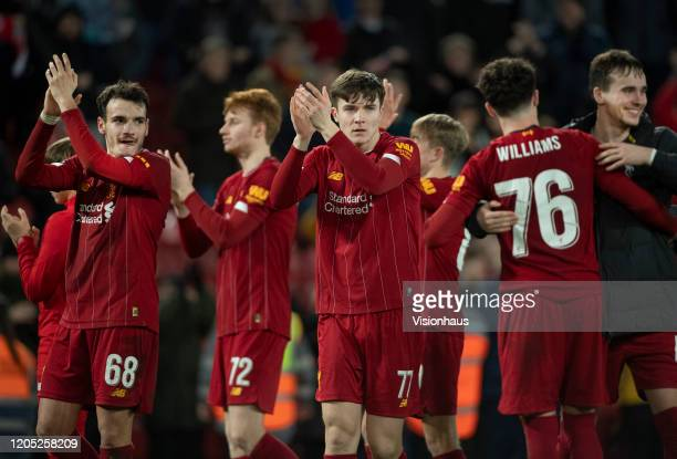The Liverpool players appalud the fans after the FA Cup Fourth Round Replay match between Liverpool and Shrewsbury Town at Anfield on February 4 2020...