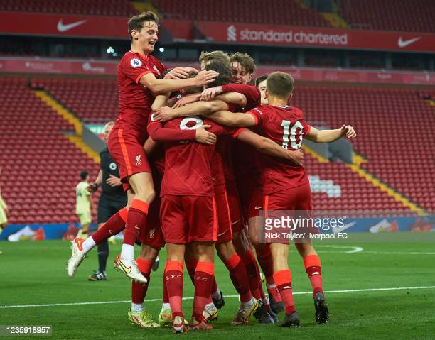 The Liverpool players celebrate Paul Glatzel scoring Liverpool's second goal during the PL2 game at Anfield on October 17, 2021 in Liverpool, England.
