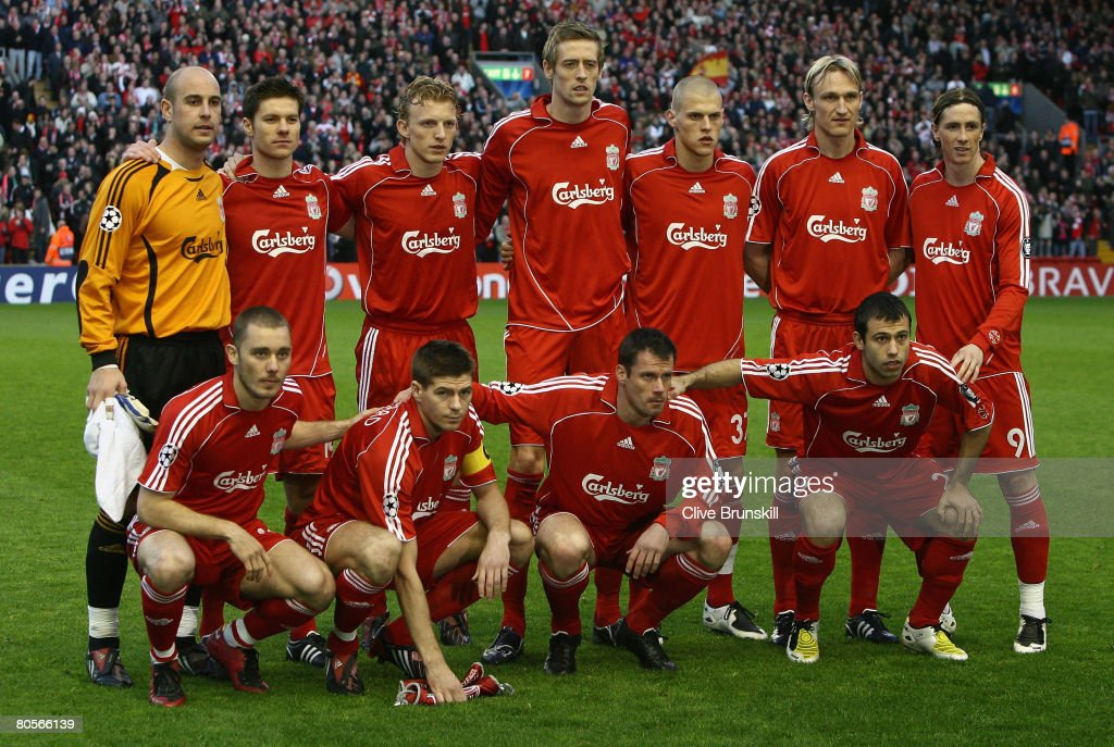 The Liverpool players line up for a team photo prior to the UEFA Champions League Quarter Final, second leg match between Liverpool and Arsenal at Anfield on April 8, 2008 in Liverpool, England.