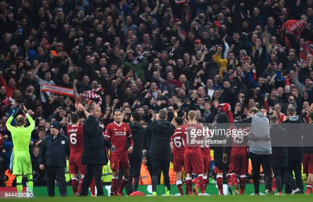 The Liverpool players show appreciation to the fans after the UEFA Champions League Quarter Final Second Leg match between Manchester City and...