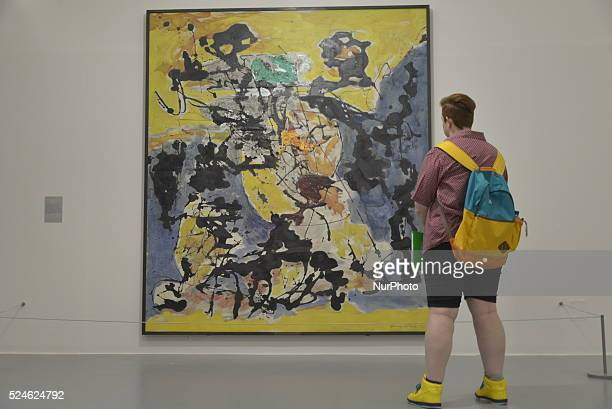 The Liverpool Tate Gallery in Liverpool NorthWest England displaying the artistic creation of the American painter and sculptor Jackson Pollock on...