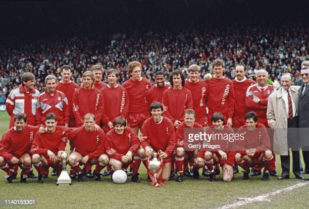 The Liverpool team are pictured after being crowned League Champions before the Barclays League Division One match against Southampton at Anfield in...