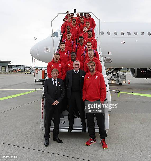 The Liverpool team arrive in Basel for the Europa League Final on May 16 2016 in Basel Switzerland