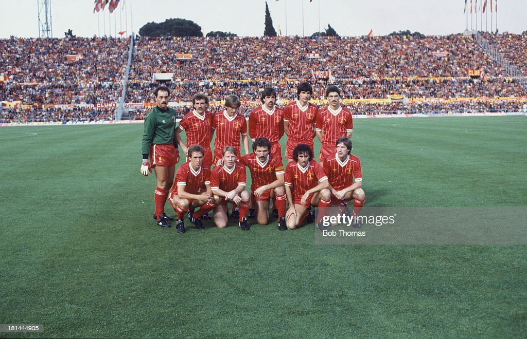 The Liverpool team at the Stadio Olimpico in Rome for the European Cup Final against A.S. Roma, 30th May 1984. The team won the final after a 1-1 draw after extra time led to a penalty shoot-out, which Liverpool won 4-2. Standing, left to right: Bruce Grobbelaar (goalkeeper), Alan Kennedy, Kenny Dalglish, Mark Lawrenson, Alan Hansen and Ian Rush. Front row, left to right: Phil Neal, Sammy Lee, Graeme Souness (captain), Craig Johnston and Ronnie Whelan.
