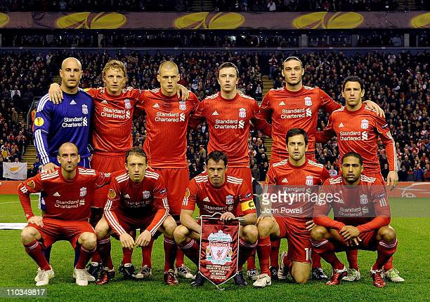 The Liverpool team before the kick off UEFA Europa League round of 16 second leg match between Liverpool and Braga at Anfield on March 17 2011 in...