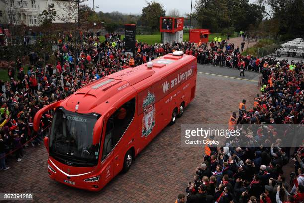 The Liverpool team bus arrives at the stadium prior to the Premier League match between Liverpool and Huddersfield Town at Anfield on October 28 2017...