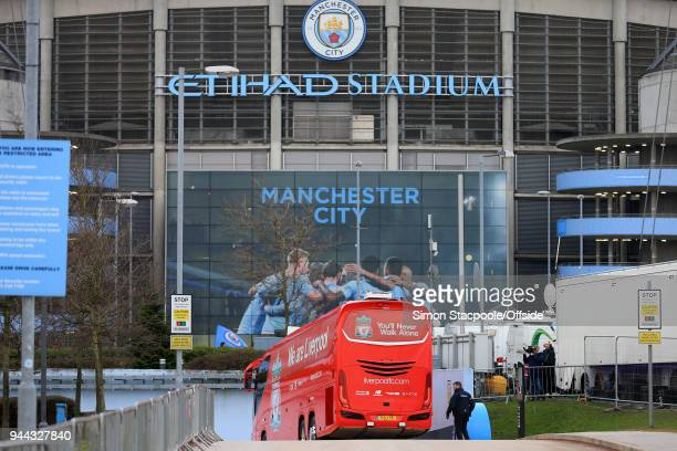 The Liverpool team bus enters the stadium peacefully ahead of the UEFA Champions League Quarter Final Second Leg match between Manchester City and...