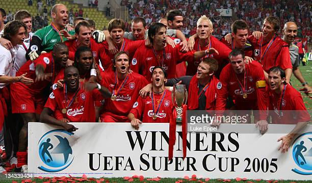The Liverpool team celebrate their victory over CSKA Moscow in the UEFA Super Cup at the Stade Louis II, in Monaco, on August 25, 2005. Liverpool won...