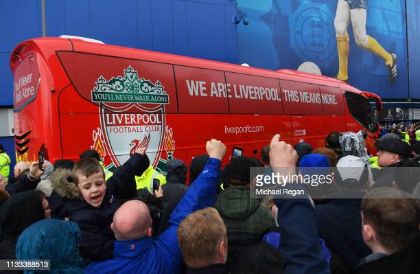The Liverpool team coach arrivesprior to the Premier League match between Everton FC and Liverpool FC at Goodison Park on March 03 2019 in Liverpool...