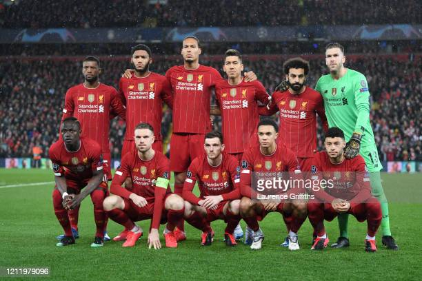 The Liverpool Team line up ahead of the UEFA Champions League round of 16 second leg match between Liverpool FC and Atletico Madrid at Anfield on...