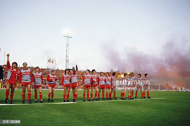 The Liverpool team line up before the 1984 European Cup Final between AS Roma and Liverpool Liverpool winning on penalties after a 11 draw aet at the...