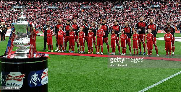 The Liverpool team line up before the kick off of the FA Cup Final match between Chelsea and Liverpool at Wembley Stadium on May 5 2012 in London...