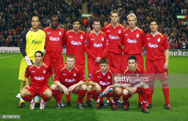 The Liverpool team line up before the UEFA Champions League group G match between Liverpool and Anderlecht at Anfield in Liverpool on November 1 2005...