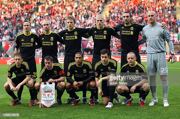 The Liverpool team line up before the UEFA Europa League round of 16 first leg match between Braga and Liverpool at Estadio Municipal de Braga on...