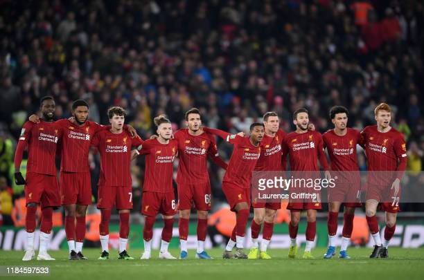 The Liverpool Team line up for the penalty shootout during the Carabao Cup Round of 16 match between Liverpool and Arsenal at Anfield on October 30...