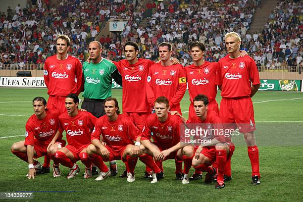 The Liverpool team line up just before kickof in the UEFA Super Cup at the Stade Louis II in Monaco on August 25 2005