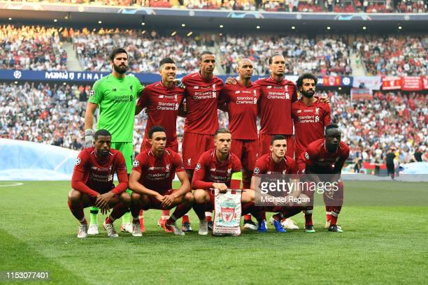 The Liverpool team line up prior to the UEFA Champions League Final between Tottenham Hotspur and Liverpool at Estadio Wanda Metropolitano on June 01...