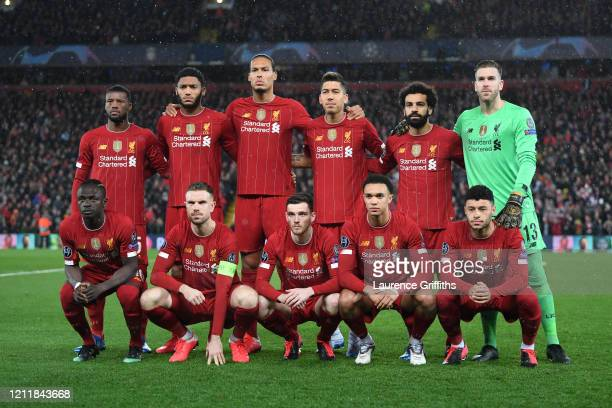 The Liverpool team line up prior to the UEFA Champions League round of 16 second leg match between Liverpool FC and Atletico Madrid at Anfield on...