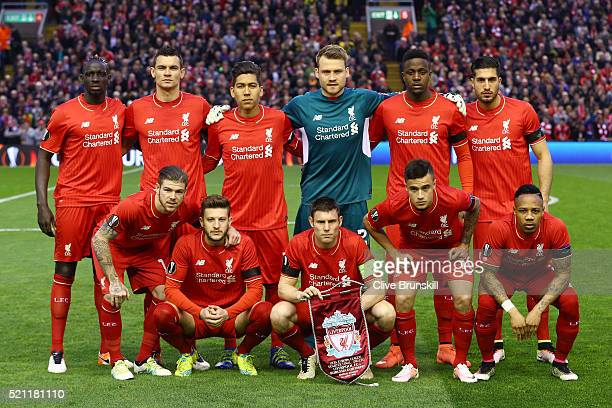 The Liverpool team pose during the UEFA Europa League quarter final second leg match between Liverpool and Borussia Dortmund at Anfield on April 14...