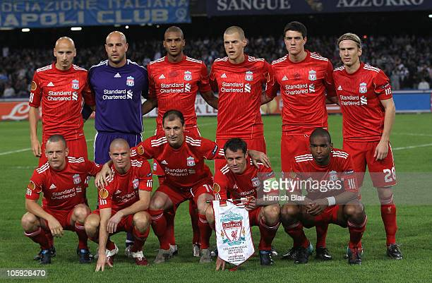 The Liverpool team pose for a photo ahead of the UEFA Europa League match between SSC Napoli and Liverpool played at Stadio San Paolo on October 21...