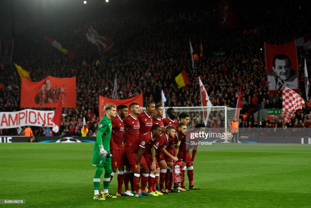 The Liverpool team pose for a team photo prior to the UEFA Champions League group E match between Liverpool FC and Sevilla FC at Anfield on September 13, 2017 in Liverpool, United Kingdom.
