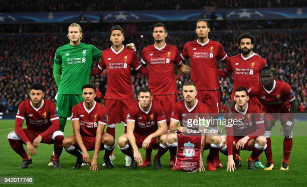 The Liverpool team pose for a team photo prior to the UEFA Champions League Quarter Final Leg One match between Liverpool and Manchester City at...