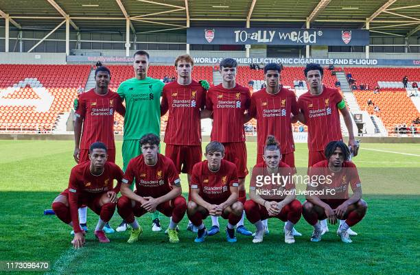The Liverpool team to face RB Salzburg in the UEFA Youth League game at Totally Wicked Stadium on October 2 2019 in St Helens England