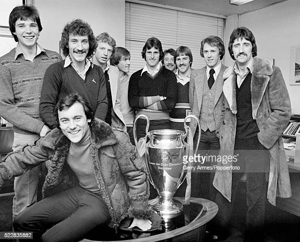 The Liverpool team with the European Cup at the BBC Pebble Mill Studios in Birmingham circa 12th May 1978 Leftright Alan Hansen Terry McDermott Ray...