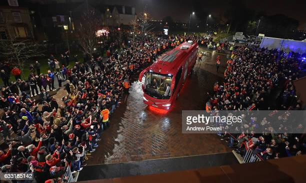 THe LIverpools new team bus arrives at anfield before the Premier League match between Liverpool and Chelsea at Anfield on January 31 2017 in...