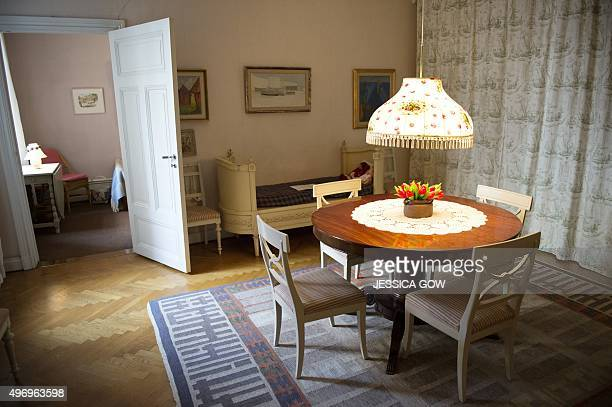 The living room at Swedish writer Astrid Lindgren's former home is pictured in Stockholm Sweden on November 13 2015 From November 14 2015 the...