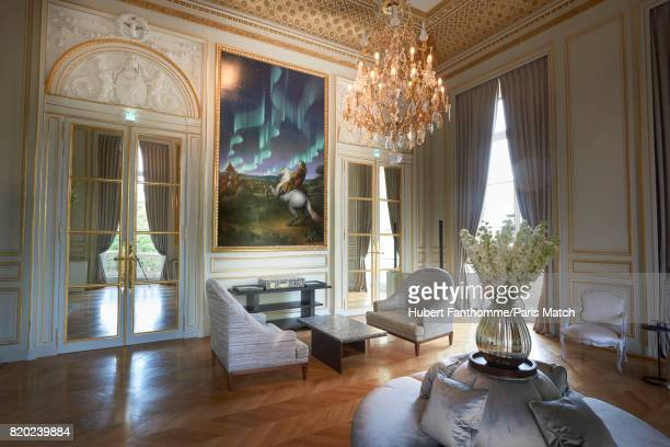 The living room des Batailles inside the Crillon Hotel photographed for Paris Match on June 22 2017 in Paris France