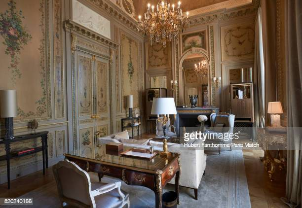 The living room of Duc de Crillon suite inside the Crillon Hotel photographed for Paris Match on June 22 2017 in Paris France