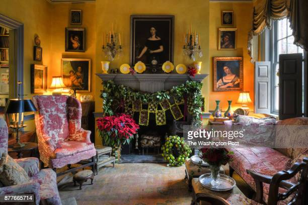 The living room of former White House Floral Designer Laura Dowling for the Christmas issue photographed in Alexandria VA December 12 2016