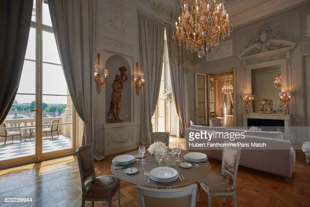 The living room of MarieAntoinette Suite inside the Crillon Hotel photographed for Paris Match on June 22 2017 in Paris France